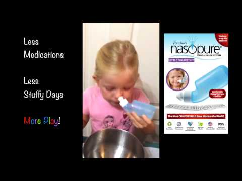 Child Washes Her Nose With Nasopure Little Squirt Kit