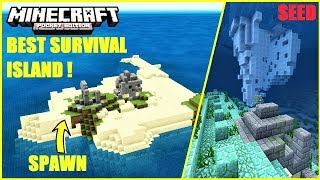 *BEST* SURIVAL ISLAND SEED FOR MCPE 1.4 ! RUINS ON LAND & ON OCEAN MONUMENT | Minecraft PE