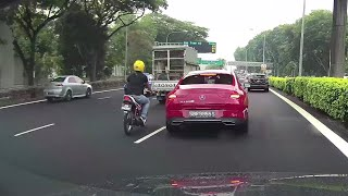 22oct2019  lucky the red mercedes #SBR9955S did signal and did not change lane abruptly