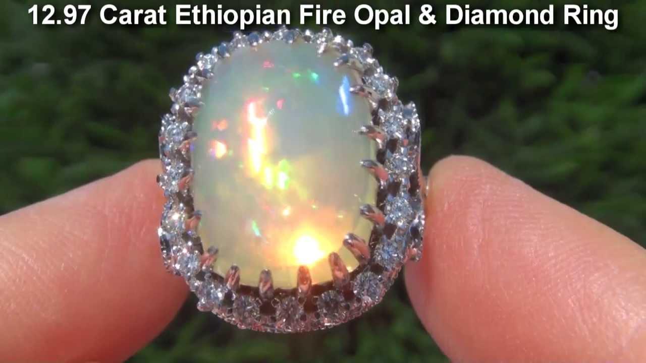 Estate 1297 Carat Welo Ethiopian Fire Opal 18k White Gold Diamond