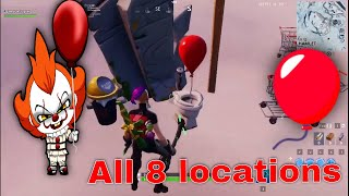 Find Pennywise's Red Balloons on the map | All 8 locations | Fortnite X IT Chapter Two Challenge