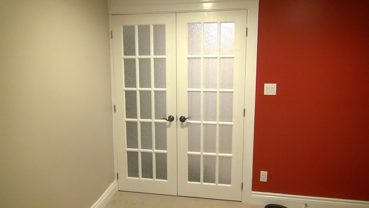 How to install double french doors the burke home theater for Home double door