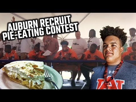 Watch Auburn commit Kameron Stutts dominate pie-eating contest at Big Cat Weekend