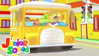 Wheels on the Bus go Round and Round | Nursery Rhymes and Baby Songs | Kids Cartoon - Junior Squad