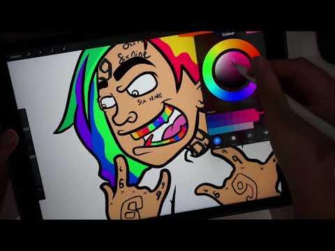 Drawing 6ix9ine Character on iPad Pro in Procreate!