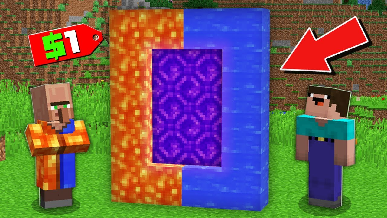 Minecraft NOOB vs PRO: WHY VILLAGER SELLING WATER LAVA PORTAL TO NOOB FOR $1 Challenge 100% trolling