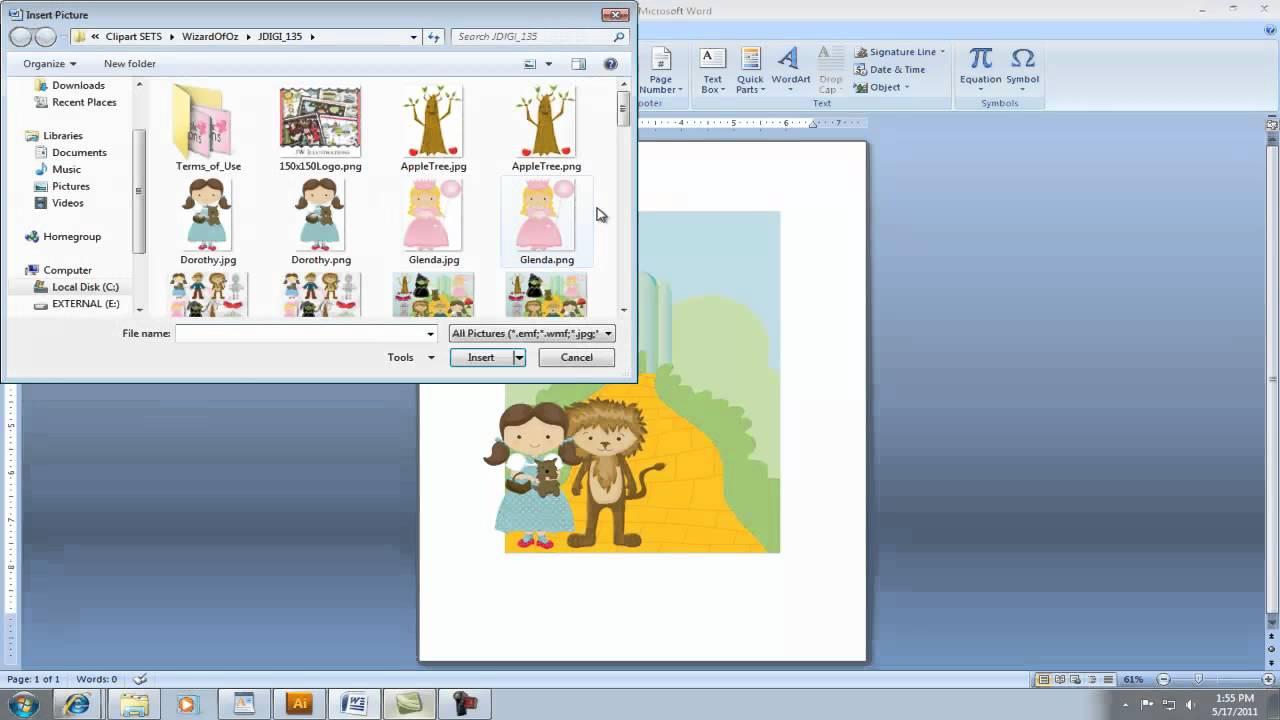 creating invitation using clipart in microsoft word youtube