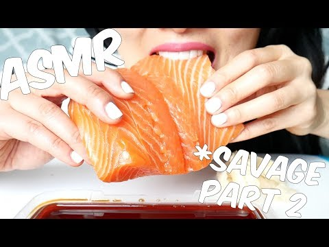 ASMR SUSHI Grade Salmon SASHIMI *part 2 ( EXTREME SAVAGE EATING SOUNDS) No Talki