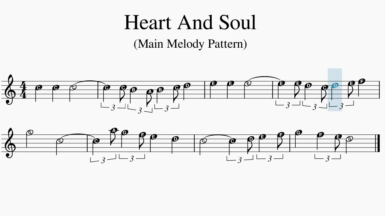 Heart And Soul - Main Piano Melody Pattern - Easy Sheet Music With Note  Letters - YouTube