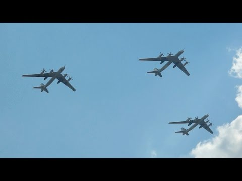 Tupolev TU95 MS Bear 3 Ship Formation Flypast at 100 Years Russian Air Force 2012