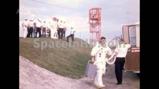 Apollo 8 emergency egress test with prime and backup crew and suiting up activities