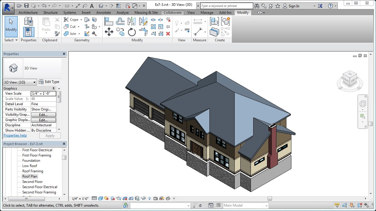 Jensen S Residential Design Using Revit 2014 Ch07 3 Low Roof Elements Youtube
