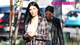 Nicole Williams Looks Stylish In Plaid While Arriving To Zinque Cafe On Melrose Ave. 1.23.19