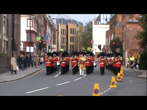 Irish Guards Guard Of Honour And Band Return To Barracks 271009.wmv