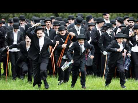Fans dress up as Charlie Chaplin on his 128th birthday