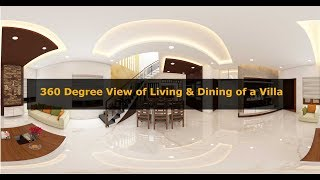 360 degree view of Living and Dining area of a Villa