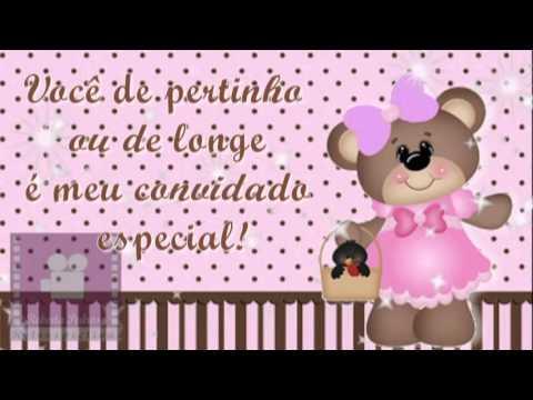 Convite Digital Animado Ursinha Marrom e Rosa