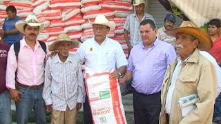 Saúl Benítez entrega fertilizante para Zacazonapan y Otzoloapan