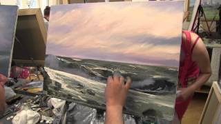 Морской пейзаж маслом, уроки живописи в Москве, Сахаров