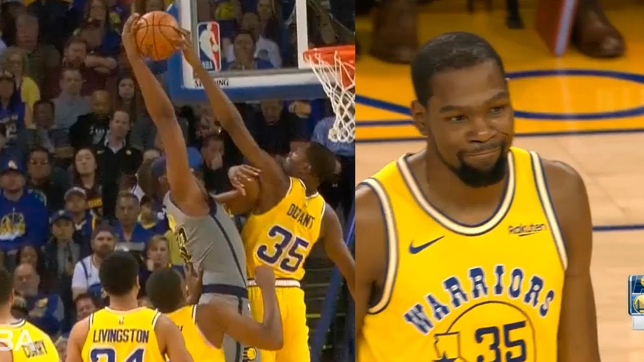 bc35b84220a1 Kevin Durant destroys Myles Turner with craziest block