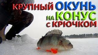 Зимняя рыбалка.Крупный ОКУНЬ на КОНУС с крючком..