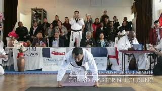 Guinness World Record :Most knuckle push up in 1 minute by Grand master NJ Gurung.