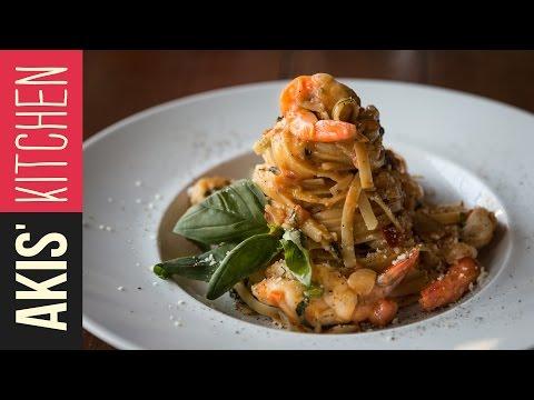 Shrimp Linguine Pasta | Akis Kitchen