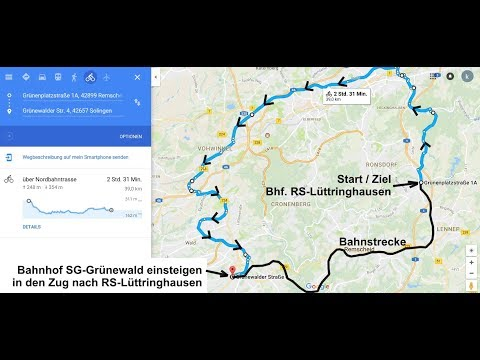 40 km, Nordbahn- u. Korkenziehertrasse u. d. schöne Marscheider Bachtal
