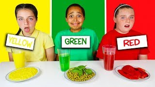 LAST TO STOP EATING THEIR COLORED FOOD CHALLENGE!! Video
