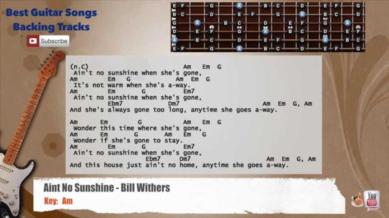 Aint No Sunshine Bill Withers Guitar Backing Track With Scale