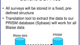 moving to a centralized database for surveys in blaise at nass