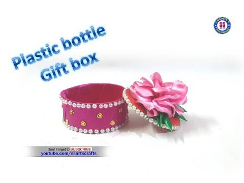 DIY Gift box from Recycled Plastic bottle|Ribbon Gift wrapping idea|ssarts crafts