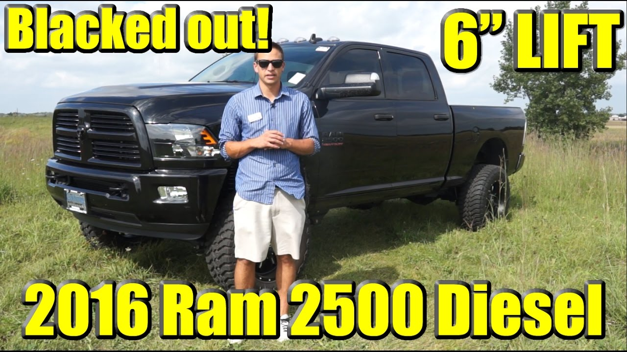 "BLACKED OUT! 6"" LIFTED Custom 2016 Ram 2500 Cummins Diesel! Katzkin Custom Leather and tons more ..."