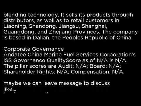 AMCF Andatee China Marine Fuel Services Corporation AMCF buy or sell Buffett read basic profile