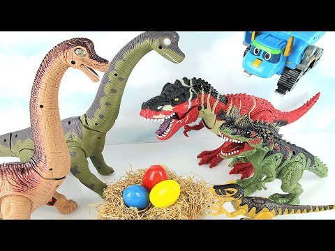 Dinosaur Walking and Laying Eggs Toy! Dinosaurs Toys For Kids. T Rex steal Brachiosaurus eggs~ 공룡 토이