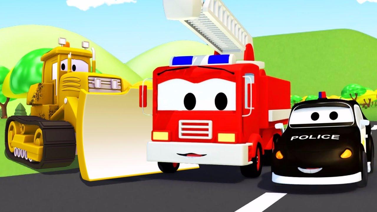 Đội xe tuần tra : xe cứu hỏa cùng với xe cảnh sát và xe ủi đất ở thành phố xe | Phim hoạt hình
