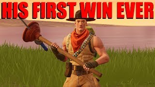 GETTING A KID HIS FIRST WIN EVER ON FORTNITE!