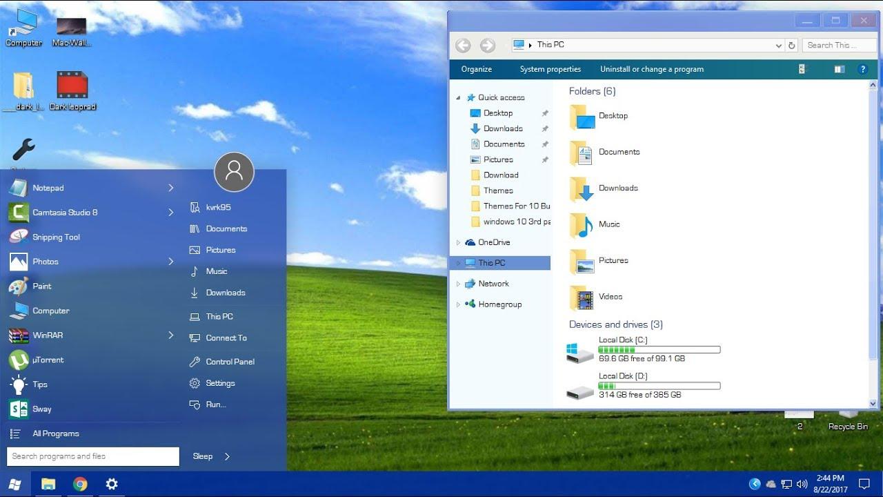 Windows XP theme for Windows 10 - YouTube