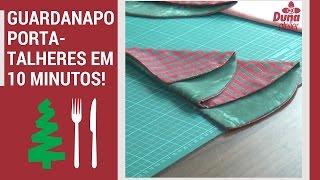 Guardanapo Porta – talheres Árvore de Natal em 10 minutos +molde