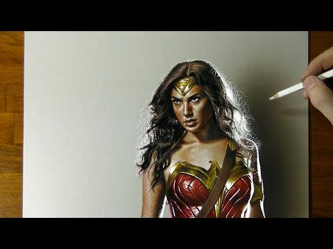 Drawing Wonder Woman Gal Gadot - How to draw 3D art