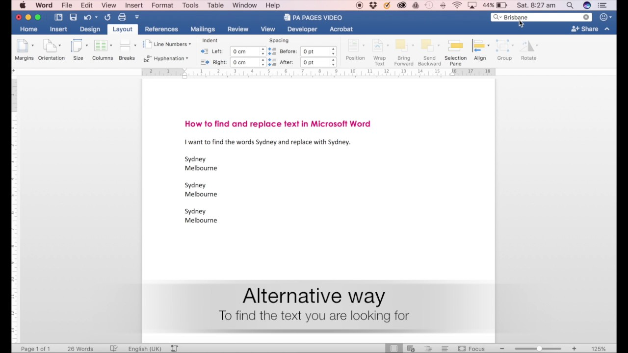 how to find and replace text in word