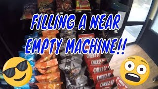 Filling my vending machine at a mechanic shop after adding a new mother-board and credit card reader