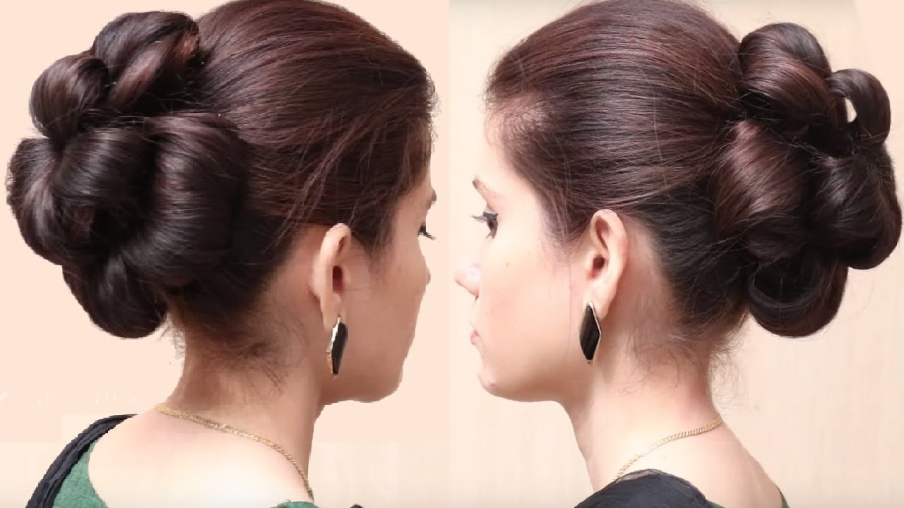 Easy Styles For Long Hair: Flower Bun Hairstyle For Girls