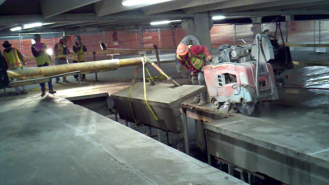Concrete cutting parking garage double t structural slab for Concrete slab for garage
