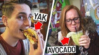 Trying WEIRD FOODS! - Yak Burger, Avocado Margarita, Antelope Hot Dog (Austin, Texas)