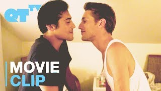 two hot guys kiss each other because they want two girls to make out happy
