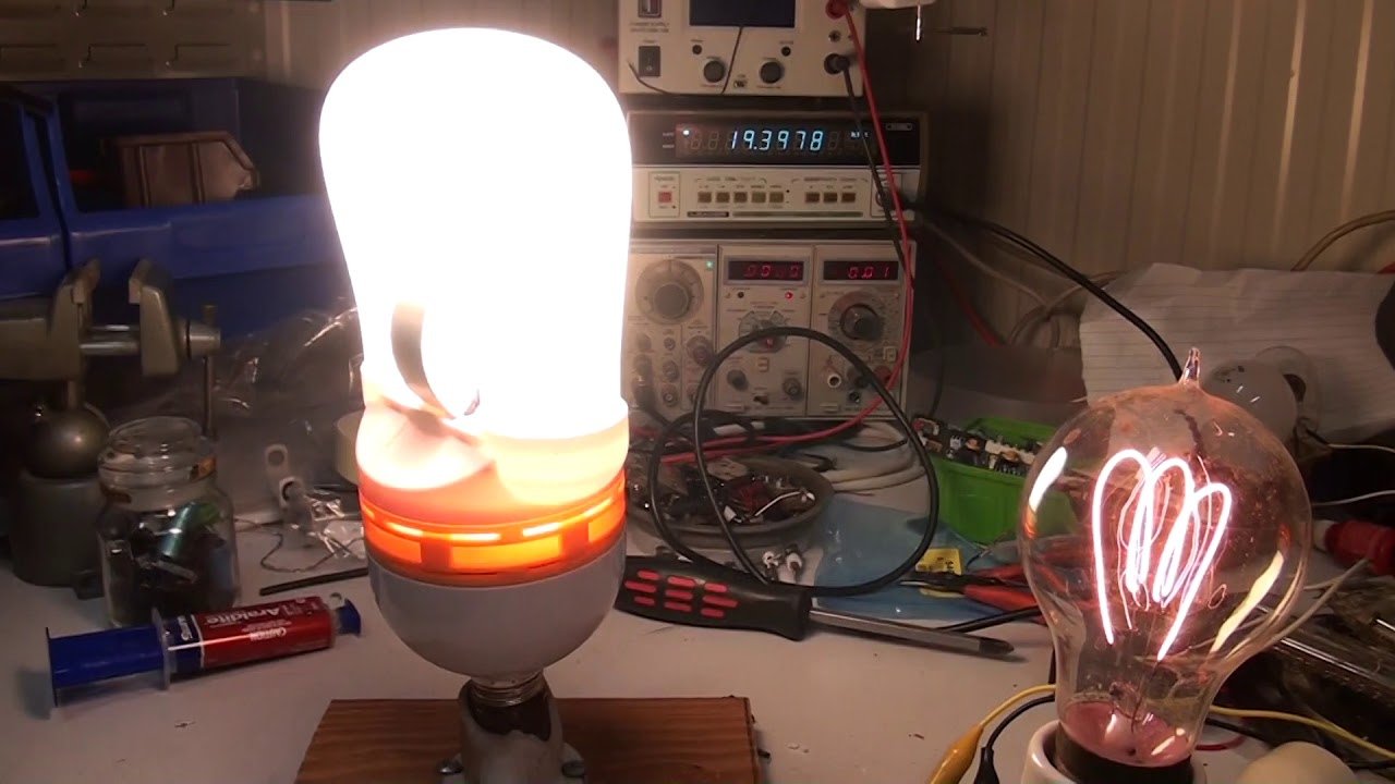 Induction Lamp And 100 Year Old Carbon Filament Lamp