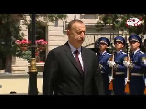President Ilham Aliyev visits the memorial in honor of Azerbaijan Democratic Republic