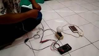 Bekas kipas angin menjadi pembangkit listrik Dan charge hp