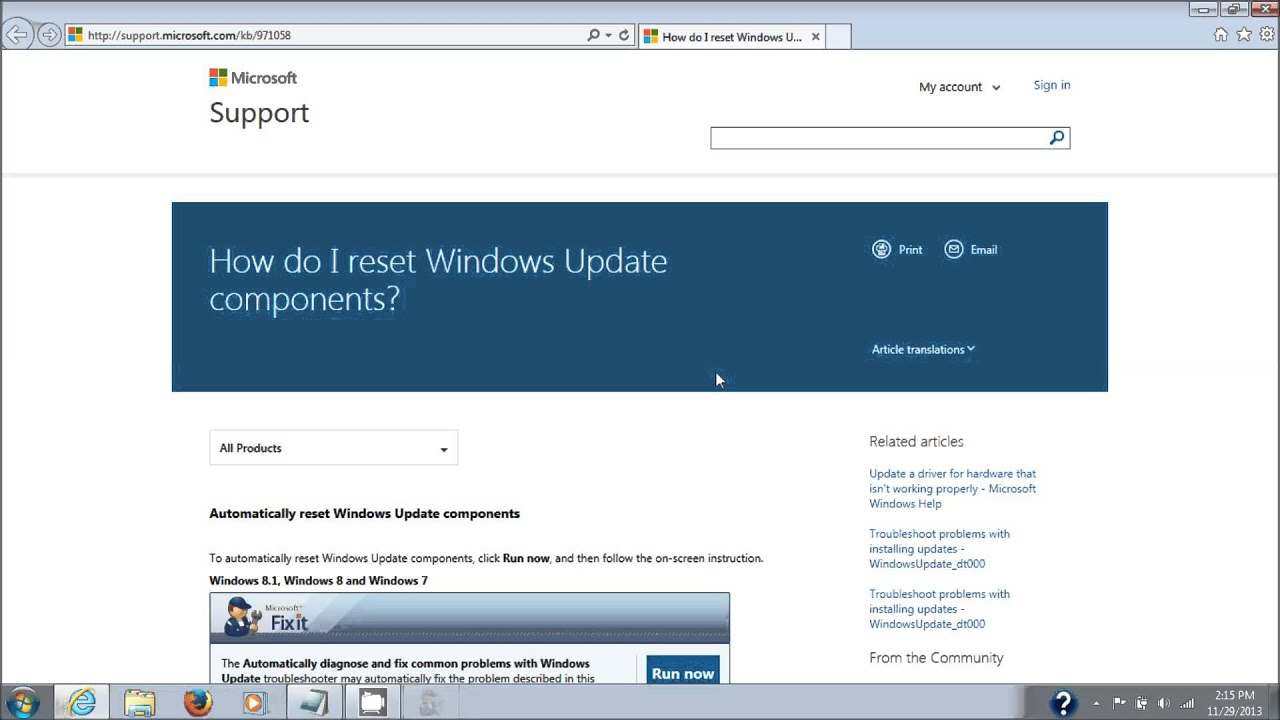 Windows Update Fixit >> Microsoft Windows Update Fix It Tool Repair Windows Update Components
